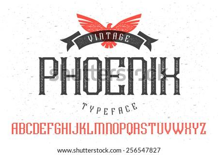 "Vintage font ""Phoenix Typeface"" - stock vector"