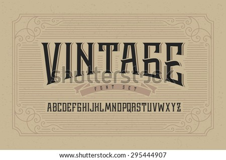 Vintage font set on cardboard texture vector background with decorative ornate frame. - stock vector