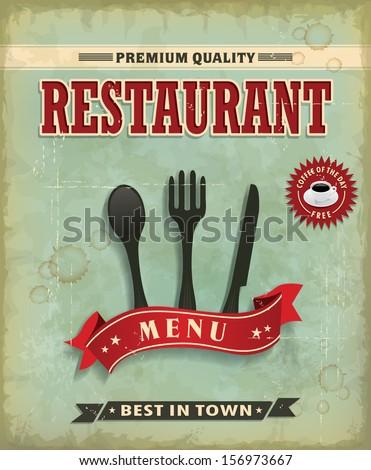Vintage Food menu poster design - stock vector