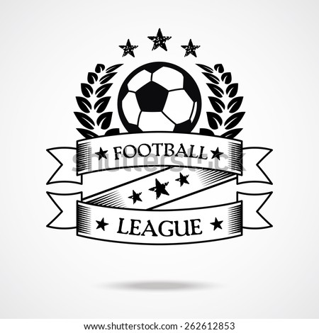 Vintage football badge. Creative graphic design logo elements. Isolated on gradient white background. Vector illustration. - stock vector