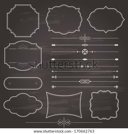 Vintage frame and divider set on chalkboard retro background. Calligraphic design elements.  - stock vector