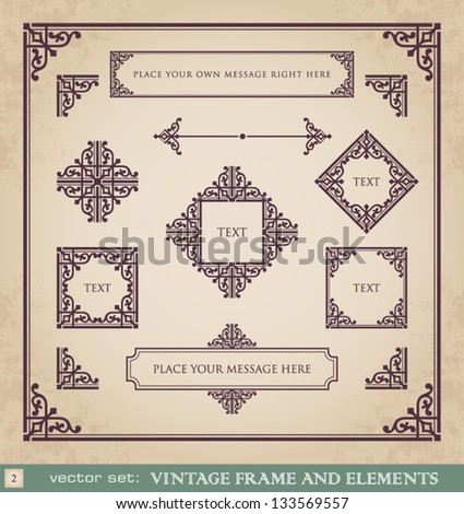 Vintage frame and elements set 2 - stock vector