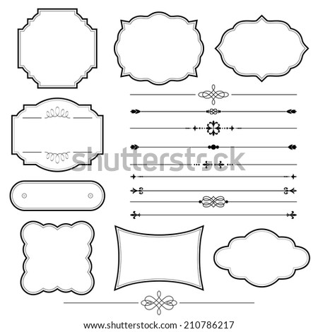 Vintage frame and page decoration set isolated on white. Calligraphic design elements. - stock vector