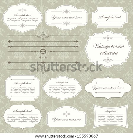 Vintage frame and page decoration set on damask seamless background. Calligraphic design elements. - stock vector