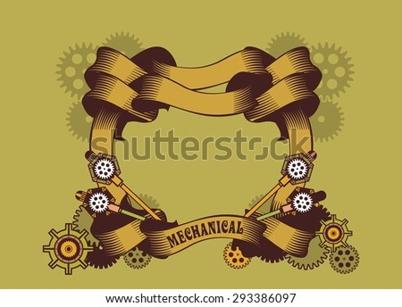 Vintage frame beautifully curled ribbons and decorated in the style of gears Steam Punk - stock vector