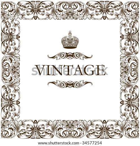 Vintage frame decor ornament vector - stock vector