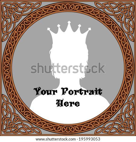 Vintage frame for portrait in celtic style - stock vector