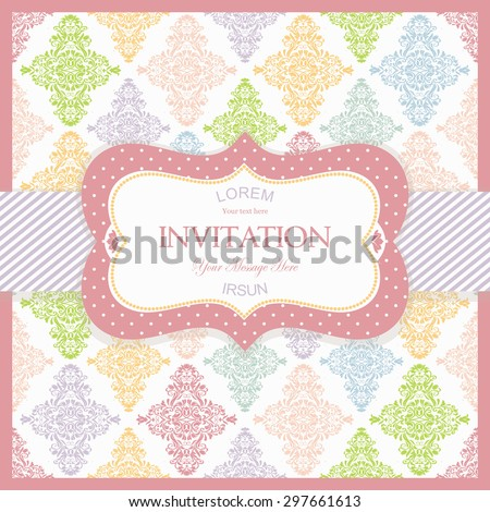 vintage frame on  colorful damask  background - stock vector