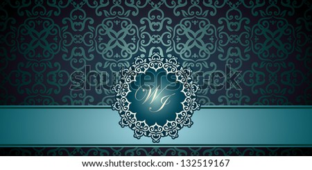 Vintage frame on damask wallpaper, Can be used as business, visiting, invitation card, album cover etc - stock vector