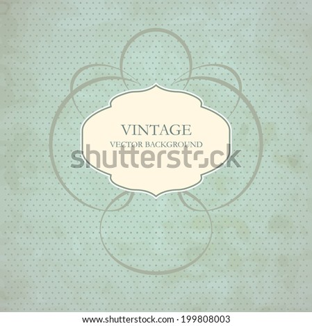 Vintage frame on dot background - stock vector