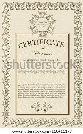 Vintage frame on elegant background, Luxury style. Wedding, Certificate etc - stock vector