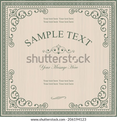 Vintage   Frame on Retro Background Design - stock vector