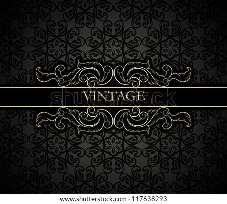 Vintage frame on seamless black floral background - stock vector