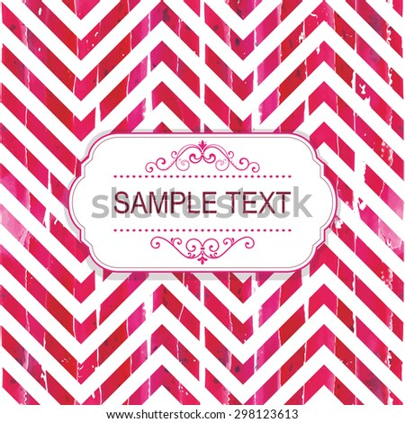 Vintage frame on watercolor seamless pattern - stock vector