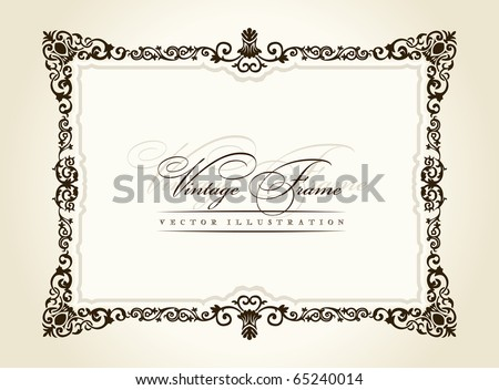 Vintage frame retro decor ornament vector. Vector calligraphic frame. Baroque ornament and vintage black border. Royal frame. Elegant frame. Book frame. Frame flourish decorative - stock vector
