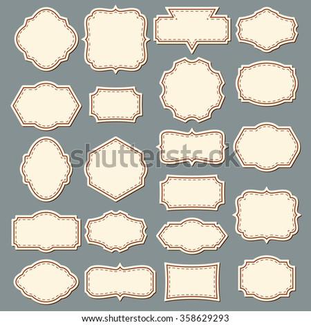 Vintage Frame Set. Decorative Label Collection. With Dashed Line Inside. Vector. - stock vector