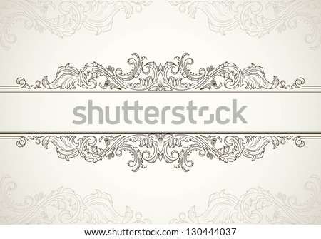 Vintage frame template for text in antique style - stock vector