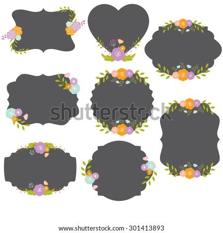 vintage frame wih flower - stock vector
