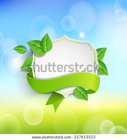 Vintage frame wit green  ribbon against the background paper leaves and spring bokeh background. Vector illustration.  - stock vector