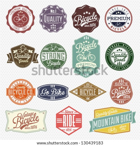 Vintage Frame With Bicycle Label Set Template - stock vector