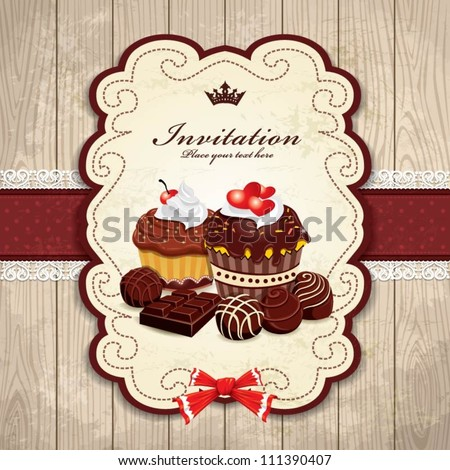 Vintage frame with chocolate, cupcake, heart, cream template - stock vector