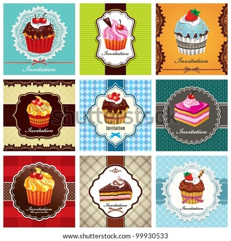 Vintage frame with cupcake set (43) - stock vector