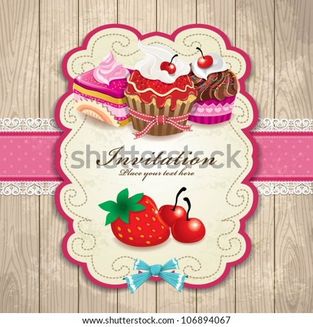 Vintage frame with cupcake template - stock vector