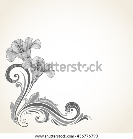 Vintage frame with flowers lily and bird.. Element for design. - stock vector
