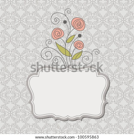 Vintage frame with flowers , vector retro background - stock vector
