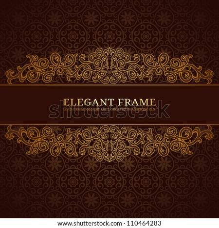 Vintage frame with golden ornament - stock vector