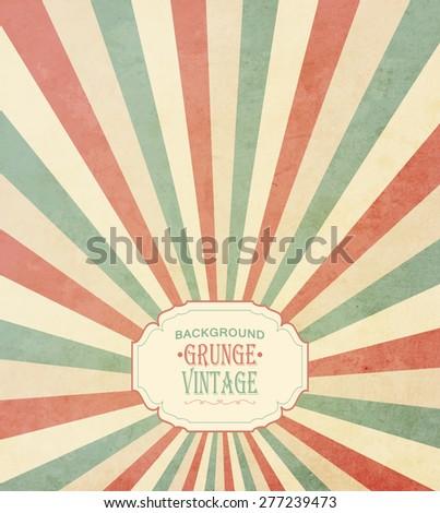 Vintage Frame With Grunge Concentric Radial Background And Title Inscription - stock vector