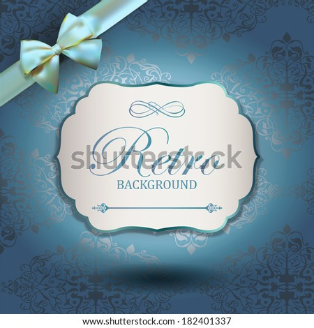 Vintage Frame with Ornamental round damask lace pattern.  Space for text. Retro Background. Corner Ribbon Bow - stock vector
