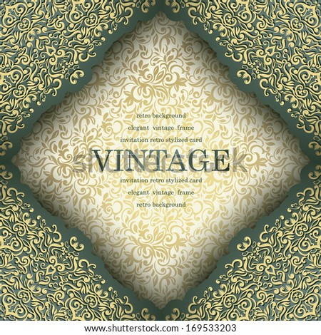 Vintage frame with seamless wallpaper in gold, Can be used as invitation, Menu etc  - stock vector