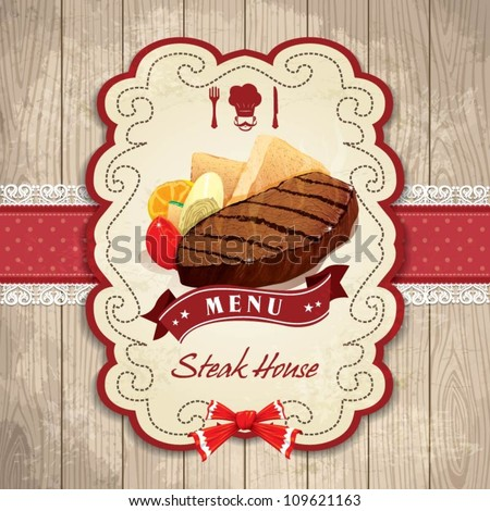 Vintage frame with Steak, bread, tomato set template - stock vector