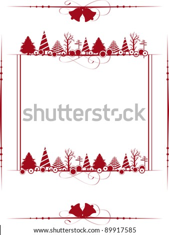 Vintage frame with the Christmas ornaments like Xmas trees & jingle bell in red color for Christmas & other events. - stock vector