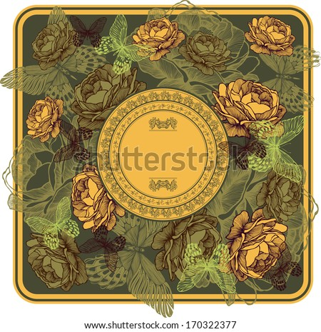 Vintage frame with yellow roses and butterflies, vector illustration. - stock vector