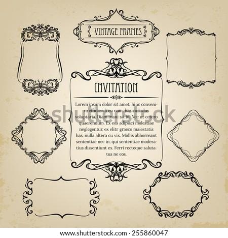 Vintage frames - stock vector