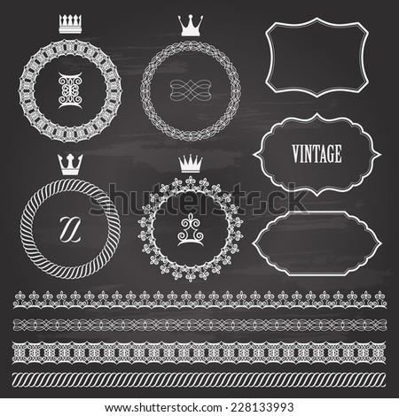Vintage frames and borders on chalkboard. Items saved in brushes. - stock vector