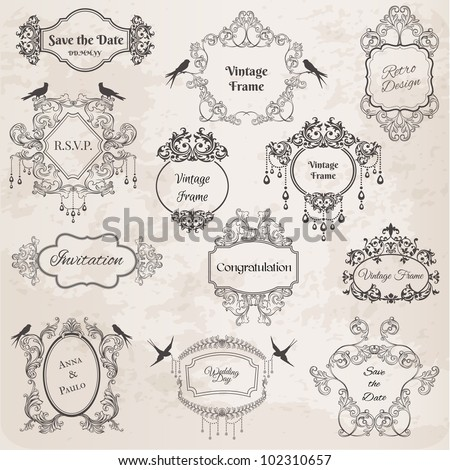 Vintage Frames and Design Elements- for wedding, invitation, birthday, greetings, scrapbook - in vector - stock vector
