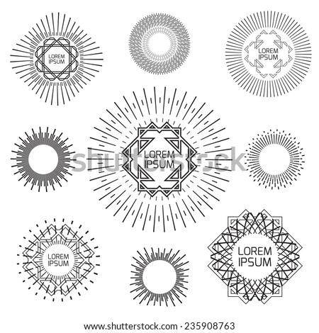 Vintage frames and design elements logotypes - stock vector