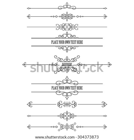 Vintage frames and dividers set isolated on white. Calligraphic design elements. - stock vector