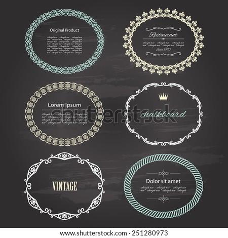 Vintage frames and labels on chalkboard. - stock vector