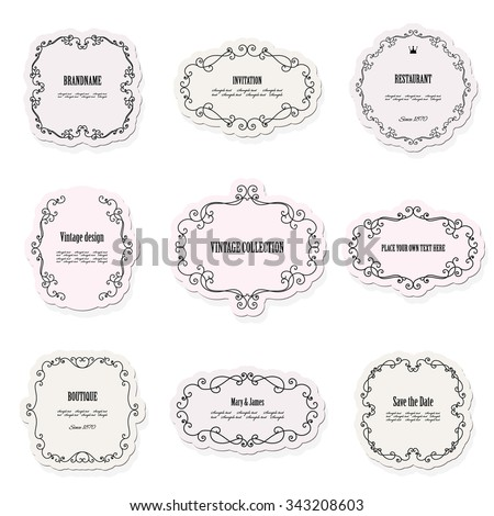 Vintage frames and labels set. Calligraphic design elements. Pastel colors. - stock vector