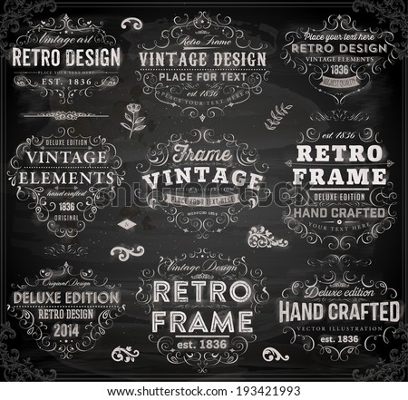 Vintage Frames and Scroll Elements. Chalkboard Style. - stock vector