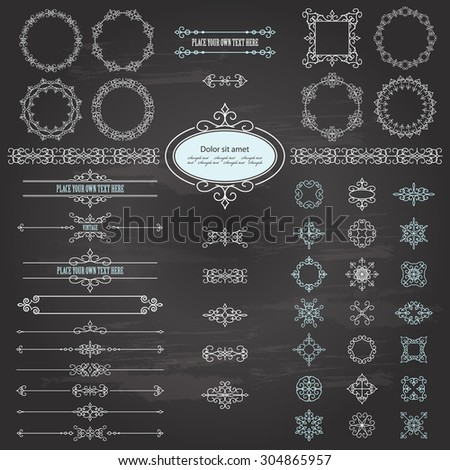 Vintage frames, dividers and design elements set on chalkboard background. Items are saved in brushes. - stock vector