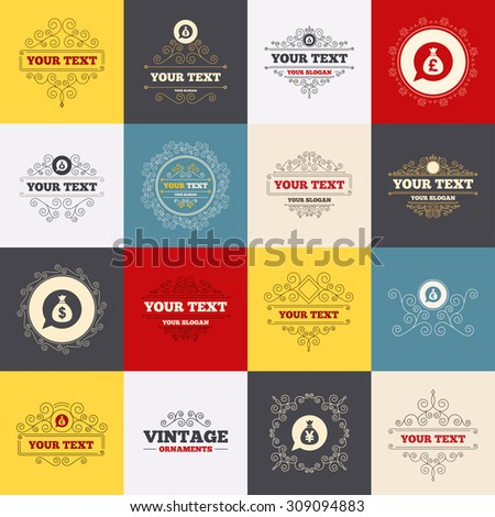 Vintage frames, labels. Money bag icons. Dollar, Euro, Pound and Yen speech bubbles symbols. USD, EUR, GBP and JPY currency signs. Scroll elements. Vector - stock vector