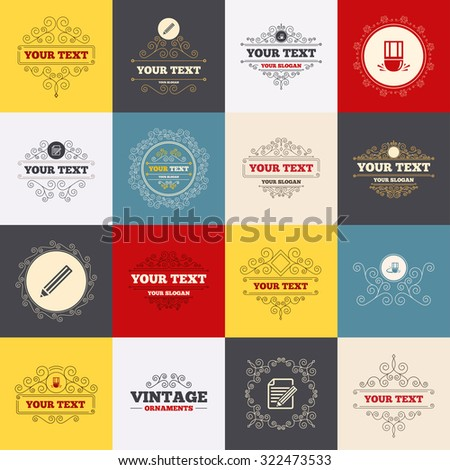 Vintage frames, labels. Pencil icon. Edit document file. Eraser sign. Correct drawing symbol. Scroll elements. Vector - stock vector