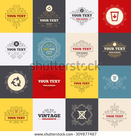Vintage frames, labels. Recycle bin icons. Reuse or reduce symbols. Trash can and recycling signs. Scroll elements. Vector - stock vector