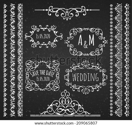 Vintage Frames ,Scroll Elements and Borders. Chalkboard Style. - stock vector
