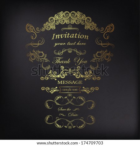 Vintage frames with floral ornament and calligraphic design elements - stock vector